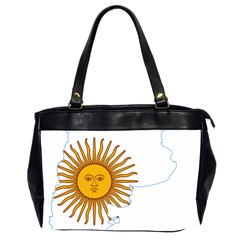 Flag Map Of Argentina & Islas Malvinas Oversize Office Handbag (2 Sides)