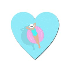 Lady In The Pool Heart Magnet by Valentinaart