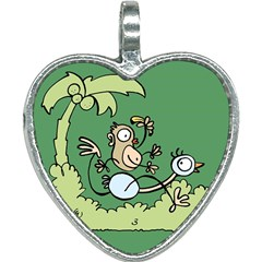 Ostrich Jungle Monkey Plants Heart Necklace by Bajindul