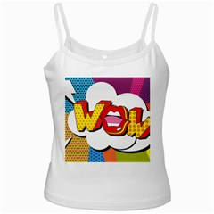 Wow Mouth Polka Pop White Spaghetti Tank
