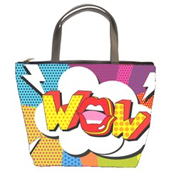 Wow Mouth Polka Pop Bucket Bag by AnjaniArt
