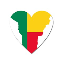 Benin Africa Borders Country Flag Heart Magnet by Sapixe