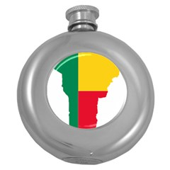 Benin Africa Borders Country Flag Round Hip Flask (5 Oz)
