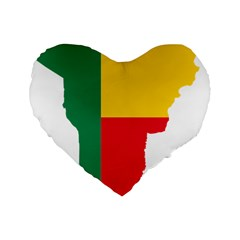 Benin Africa Borders Country Flag Standard 16  Premium Flano Heart Shape Cushions