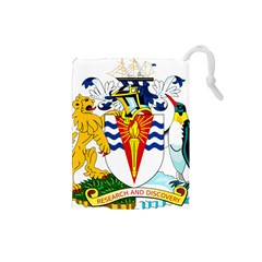 Coat Of Arms Of The British Antarctic Territory Drawstring Pouch (small) by abbeyz71