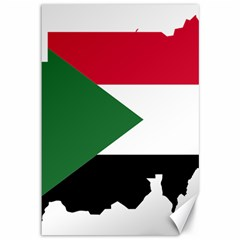 Sudan Flag Map Geography Outline Canvas 12  X 18  by Sapixe