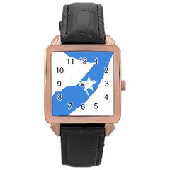 Somalia Flag Map Geography Outline Rose Gold Leather Watch