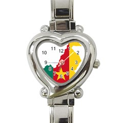 Cameroon Flag Map Geography Heart Italian Charm Watch by Sapixe