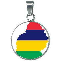 Mauritius Flag Map Geography 20mm Round Necklace