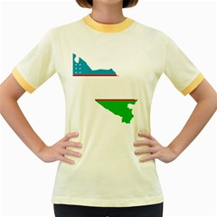 Borders Country Flag Geography Map Women s Fitted Ringer T-shirt by Sapixe