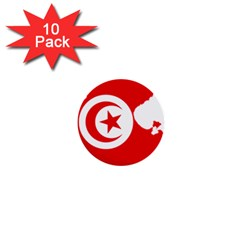 Tunisia Flag Map Geography Outline 1  Mini Buttons (10 Pack)  by Sapixe