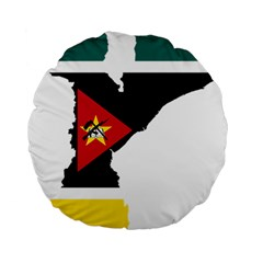 Mozambique Flag Map Geography Standard 15  Premium Round Cushions by Sapixe