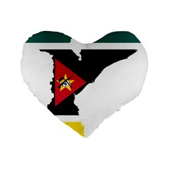 Mozambique Flag Map Geography Standard 16  Premium Flano Heart Shape Cushions by Sapixe