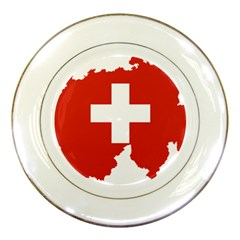 Switzerland Country Europe Flag Porcelain Plates by Sapixe
