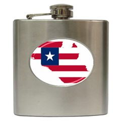 Liberia Flag Map Geography Outline Hip Flask (6 Oz)