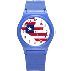 Liberia Flag Map Geography Outline Round Plastic Sport Watch (s)