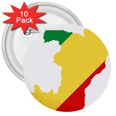 Congo Flag Map Geography Outline 3  Buttons (10 Pack)
