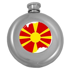 Macedonia Country Europe Flag Round Hip Flask (5 Oz) by Sapixe