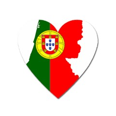 Portugal Flag Borders Cartography Heart Magnet by Sapixe