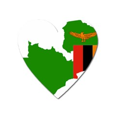 Zambia Flag Map Geography Outline Heart Magnet by Sapixe