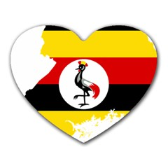 Uganda Flag Map Geography Outline Heart Mousepads