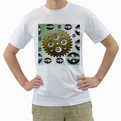 Gear Background Sprocket Men s T Shirt (white) (two Sided)