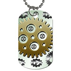 Gear Background Sprocket Dog Tag (one Side)