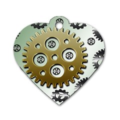 Gear Background Sprocket Dog Tag Heart (one Side)