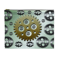 Gear Background Sprocket Cosmetic Bag (xl) by HermanTelo