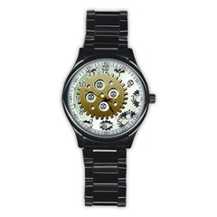 Gear Background Sprocket Stainless Steel Round Watch