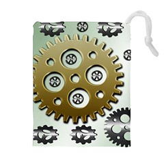 Gear Background Sprocket Drawstring Pouch (xl) by HermanTelo