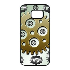 Gear Background Sprocket Samsung Galaxy S7 Edge Black Seamless Case by HermanTelo