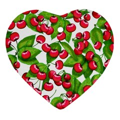 Cherry Leaf Fruit Summer Heart Ornament (two Sides)