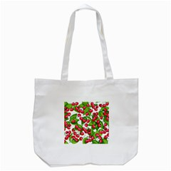 Cherry Leaf Fruit Summer Tote Bag (white)