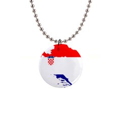 Croatia Country Europe Flag 1  Button Necklace