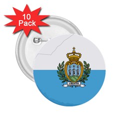 San Marino Country Europe Flag 2 25  Buttons (10 Pack)