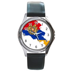 Borders Country Flag Geography Map Round Metal Watch
