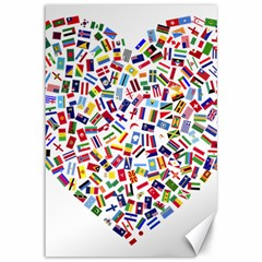 Heart Flags Countries United Unity Canvas 12  X 18  by Sapixe