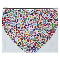 Heart Flags Countries United Unity Cosmetic Bag (xxxl)