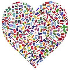 Heart Flags Countries United Unity Wooden Puzzle Heart