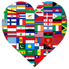 Flags Countries International Wooden Puzzle Heart