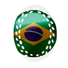 Brazil Flag Country Symbol Ornament (oval Filigree)