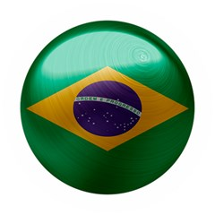 Brazil Flag Country Symbol Wooden Puzzle Round by Sapixe