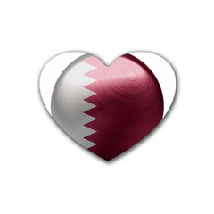 Qatar Flag Country Nation National Rubber Coaster (heart)