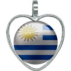 Uruguay Flag Country Symbol Nation Heart Necklace by Sapixe