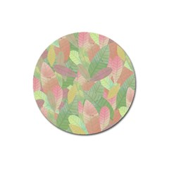 Watercolor Leaves Pattern Magnet 3  (round)