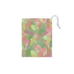 Watercolor Leaves Pattern Drawstring Pouch (xs)
