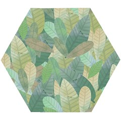 Watercolor Leaves Pattern Wooden Puzzle Hexagon by Valentinaart