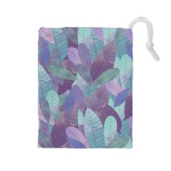 Watercolor Leaves Pattern Drawstring Pouch (large)