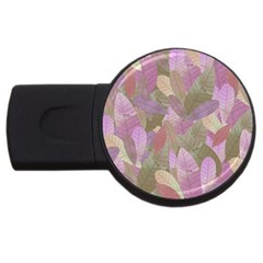 Watercolor Leaves Pattern Usb Flash Drive Round (4 Gb)